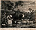 A woman is washing clothes in a tub in the farmyard surround Wellcome V0039603.jpg