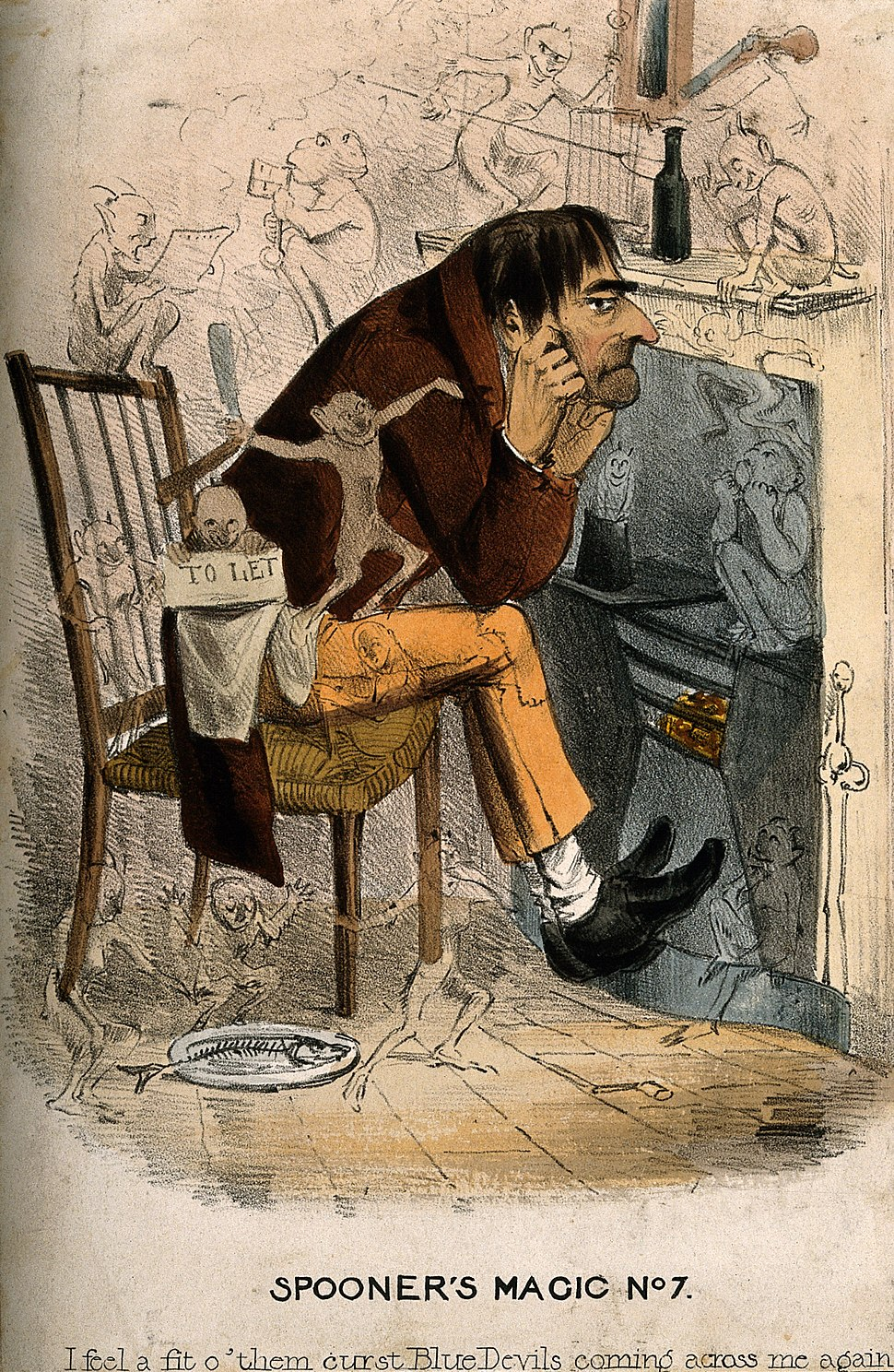 A wretched man with an approaching depression; represented b Wellcome V0011145