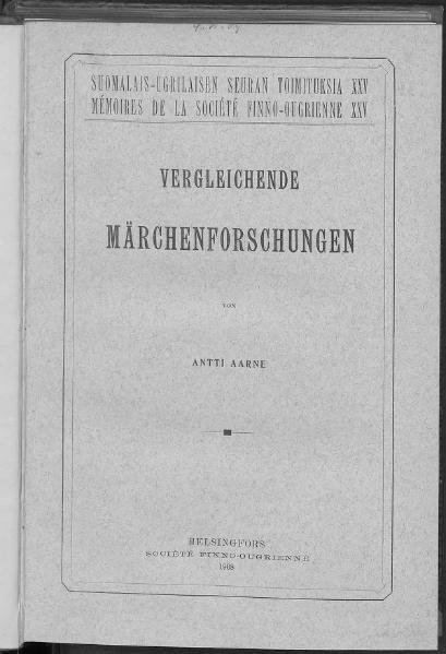 File:Aarne Vergleichende Märchenforschungen.djvu
