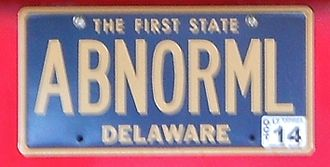 Vehicle registration plates of the United States - An ABNORML license plate in Delaware