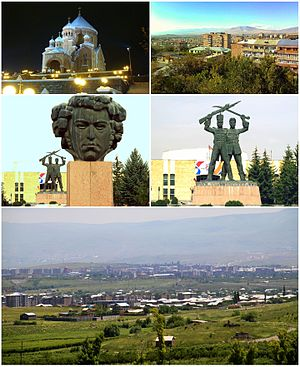 From top left:Surp Hovhannes Church • Abovyan and Mount AraStatue of Khachatur Abovian  • Russian-Armenian brotherhood memorial and the town hallGeneral view of Abovyan
