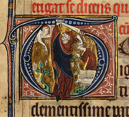 Abraham about to sacrifice Isaac, from an East Anglian missal, c. 1315 (National Library of Wales, Aberystwyth) Abraham about to sacrifice Isaac.jpg