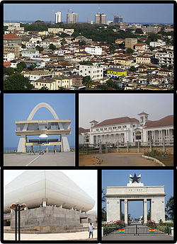 Clockwise from top: skyline of the city, the Supreme Court of Ghana, Independence Square, the National Theatre and the Independence Arch.