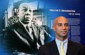 Adrian Fenty in front of Walter Washington memorial, November 2007.jpg