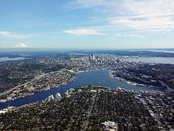 Aerial view of Lake Union looking towards downtown Seattle