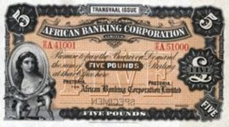 African Banking Corporation - African Banking Corporation bank note issued between 1900-1920 in the Transvaal