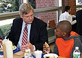 Agriculture Secretary Tom Vilsack shares lunch with students at Henry A. Wolcott Elementary School in West Hartford, Connecticut on Friday, April 5, 2013.jpg