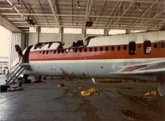 Air Canada Flight 797 - Fire damage in the front section of the aircraft.