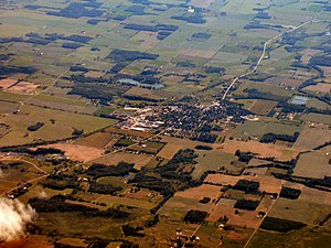 Akron, Indiana - Akron from the air, looking west