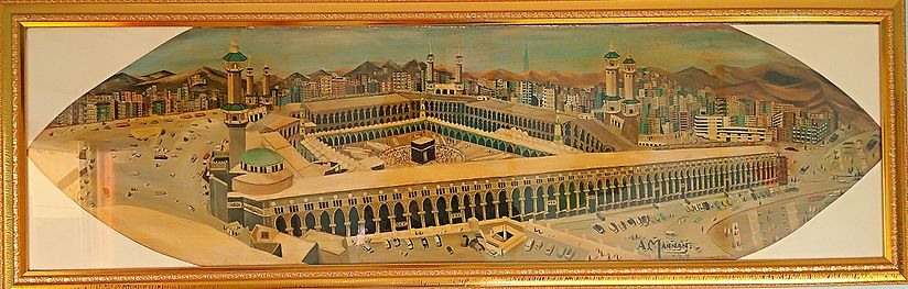 The Painting of 'Masjid Al-Haram in 20th Century' (Great Mosque of Mecca in 20th Century) is an oil painting on plywood sheet from 1971 by the Indian artist Hafez Abdul Mannan.
