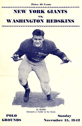 "Al Blozis, Giants tackle, died in World War II. According to Mel Hein, ""If he hadn't been killed, he could have been the greatest tackle who ever played football."" Al Blozis.jpg"