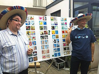Concept (board game) - Gaëtan Beaujannot (left) and Alain Rivollet (right) presenting Concept in 2013.