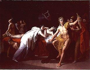 Briséis pleurant le corps de Patrocle dans la tente d'Achille