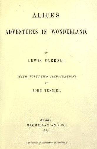 Alice's Adventures in Wonderland - Title page of the original edition (1865)