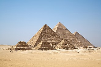 Ancient Egyptian architecture - The three main pyramids at Giza, together with subsidiary pyramids and the remains of other structures at the Giza pyramid complex