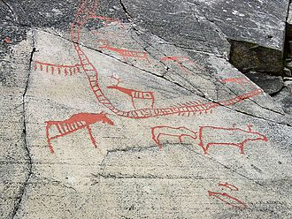 Rock carvings at Alta - A carving with visible fences, showing large hunting drives.