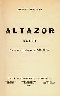 <i>Altazor</i> book by Vicente Huidobro