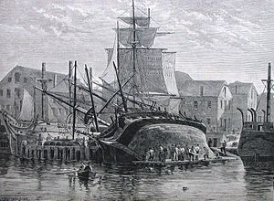 Careening - An Old Whaler Hove Down For Repairs, Near New Bedford, a wood engraving drawn by F. S. Cozzens and published in Harper's Weekly, December 1882.