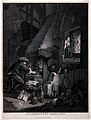 An alchemist stoking a furnace in a dimly lit room, as dayli Wellcome V0025553.jpg
