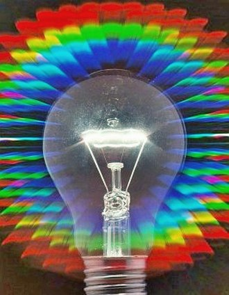 Diffraction grating - An incandescent light bulb viewed through a transmissive diffraction grating.