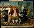 An obese man consulting a doctor. Coloured etching. Wellcome V0010954.jpg