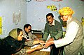 An old man at a Polling booth to cast his vote during Assembly Elections of Delhi on December 1, 2003 (Monday).jpg