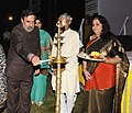 Anand Sharma lighting the lamp at a function 'MUSIC IN THE PARK', organising on the occasion of the Golden Jubilee Year of the MMTC Limited, in New Delhi on November 05, 2012.jpg