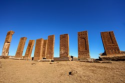 Ancient tombstones in the historical cemetery of Selcuk Turks from 12th century, in the town of Ahlat, Turkey.jpg
