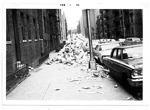 John Lindsay - Scene from NYC sanitation strike, February 1968
