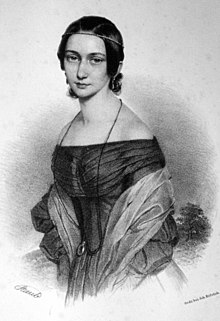 Clara Wieck in an idealized lithograph by Andreas Staub, c. 1839 (Source: Wikimedia)