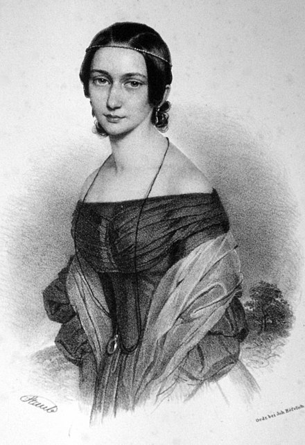 Clara Wieck in an idealized lithograph by Andreas Staub, c. 1839 Andreas Staub - Clara Wieck (Lithographie 1839, cropped).jpg