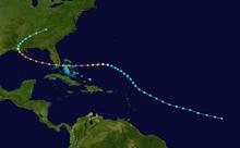 La pado de Hurricane Andrew, kiu komencas en la malferma Atlantiko kaj spuras nordokcidenten. Ĝi kurbiĝas okcidenten dum inter Porto-Riko kaj Bermuda, poste transirante Bahamojn kaj Floridon. En la Meksikia golfo, la trakre-kurboj en Luizianon kaj haltojn super orienta Tenesio.
