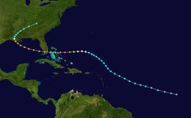 El camino del huracán Andrew, que comienza en el Océano Atlántico abierto y sigue hacia el noroeste.  Se curva hacia el oeste entre Puerto Rico y Bermuda, y finalmente cruza las Bahamas y Florida.  En el Golfo de baka, la pista vuelve a tomar una curva hacia Louisiana y se detiene en el este de Tennessee.
