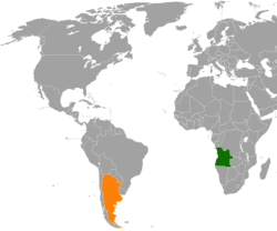 Map indicating locations of Angola and Argentina