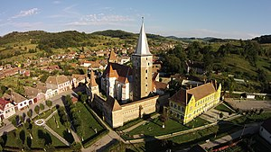 Moșna, Sibiu - Aerial view of the fortified church