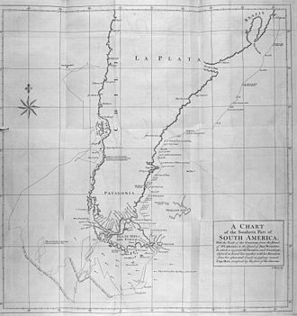 George Anson's voyage around the world - Map of Cape Horn