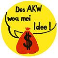 Anti-AKW-Pickerl - weiß - des AKW woa mei Idee.jpg