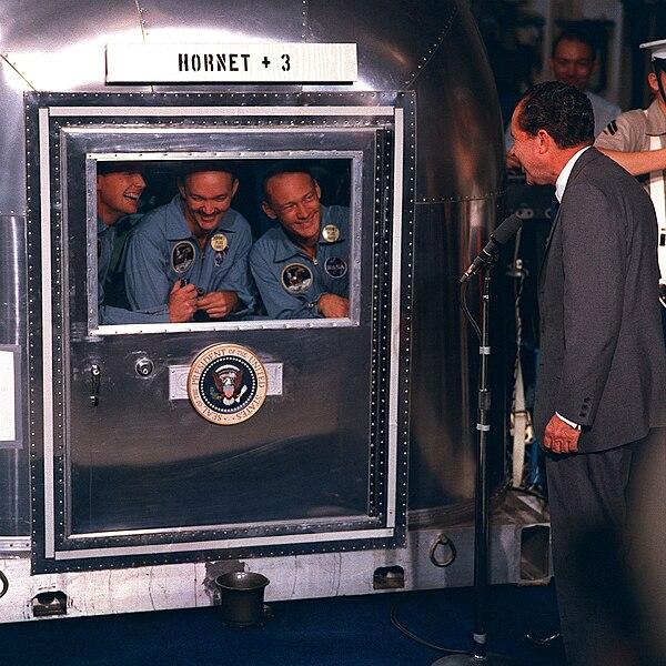 File:Apollo 11 crew in quarantine.jpg
