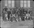 Arapaho, Cheyenne, and Chippewa delegation. Photographed in front of the Smithsonian's Arts and Industries Building. - NARA - 523612.tif