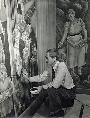 """George Biddle - Biddle, at work on his """"Society Freed through Justice"""" mural, U.S. Department of Justice, Washington, D.C., 1936."""