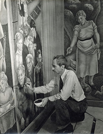 George Biddle - George Biddle in 1936, at work on his mural Society Freed Through Justice, in the Robert F. Kennedy Department of Justice Building in Washington, D.C.