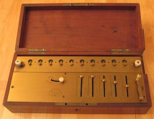 Arithmometer - Image: Arithmometer One of the first machines with unique serial number