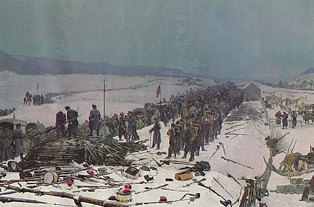 The French Army of the East is disarmed at the Swiss border in this 1881 depiction. Armee-Bourb-en-Suisse.jpg