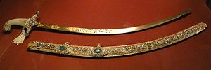 Scabbard - Princely Mughal sabre with jewelled scabbard