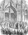 Arrivée du cortège à la cathédrale Saints-Michel-et-Gudule lors du mariage du futur roi Léopold II avec Marie-Henriette d'Autriche le 22 août 1853.jpg