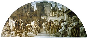 """Gambier Parry process - Cartoon for the fresco """"The Arts of Industry as Applied to War"""", 1870-72, by Frederic Leighton at the V&A Museum"""