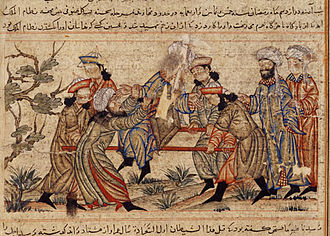 Assassination - 14th-century painting of the successful assassination of Nizam al-Mulk, the de facto ruler of the Seljuq Empire, by an Assassin.