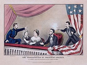 A drawing of five people, two women and three men, the rightmost of which is shooting a gun at the man sitting next to him