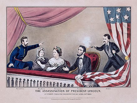 Currier and Ives depiction of Lincoln's assassination. L-to-r: Maj. Rathbone, Clara Harris, Mary Todd Lincoln, Pres. Lincoln, and Booth Assassination of President Lincoln (color) - Currier and Ives.jpg