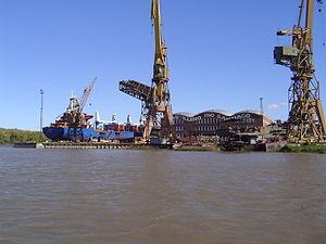 Río Santiago Shipyard - Shipyard seen from river Santiago, April 2006